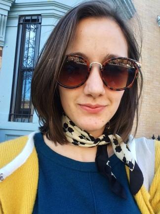 Sunglasses: Asos, Neckerchief: Goodwill (Liberty London), Coat: Anthropologie, Sweater: Eddie Baure (hand-me-down)